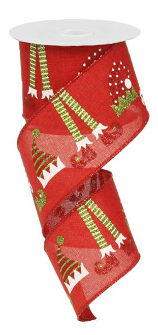 """2.5"""" Red Elf Hat and Legs Ribbon - 10 yards"""