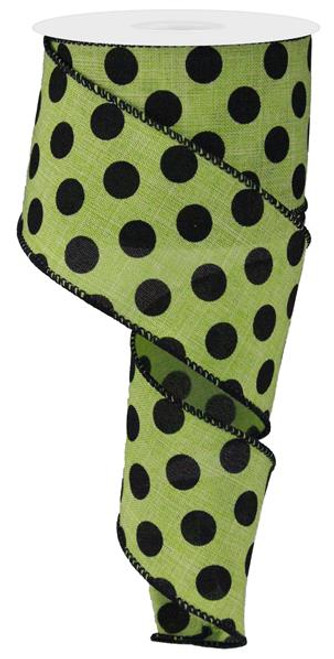 "2.5"" x 10yd Linen Polka Dot Ribbon: Lime Green/Black"
