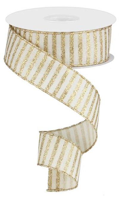 "1.5"" Glitter Stripe Ribbon: Cream/Gold - 10Yds"