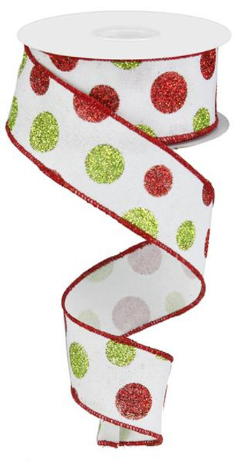 "1.5"" Multi Glitter Dot Ribbon: Wht/Red/Green - 10Yds"