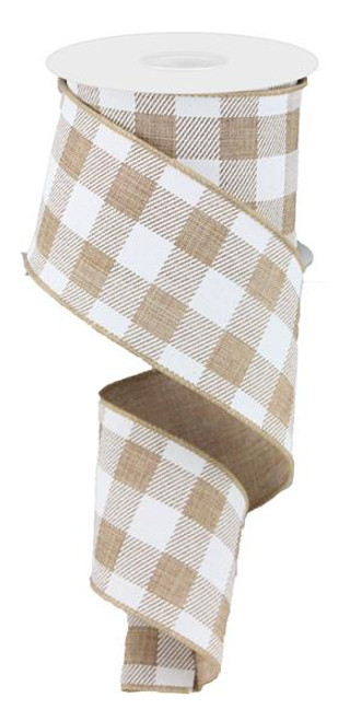 "2.5"" Plaid Check Ribbon: Tan/White - 10Yds"