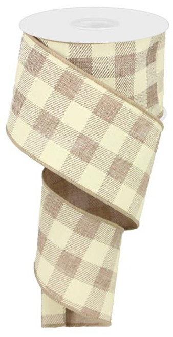 "2.5"" Plaid Check Ribbon: Lt Beige/Ivory - 10Yds"