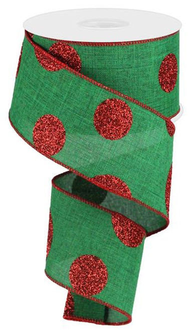 "2.5"" x 10yd Linen Giant Dot Ribbon: Emerald Green/Glitter Red"