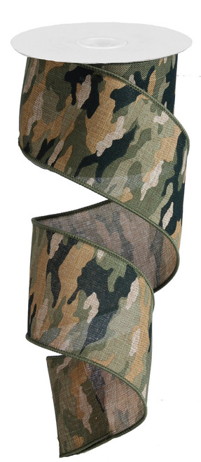 """Camouflage Print Woven - Faux Burlap Wired - 2.5"""" X 10Yds (RG1251)"""