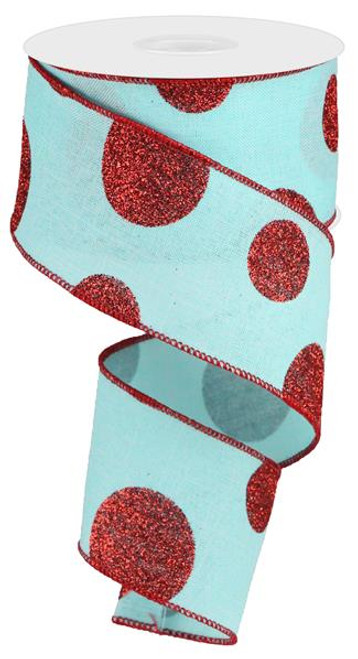 "2.5"" x 10yd Linen Giant Dot Ribbon: Ice Blue/Glitter Red"