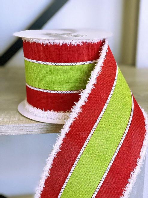 """4"""" 3 in 1 Striped Snowdrift Ribbon: Red/Lime"""