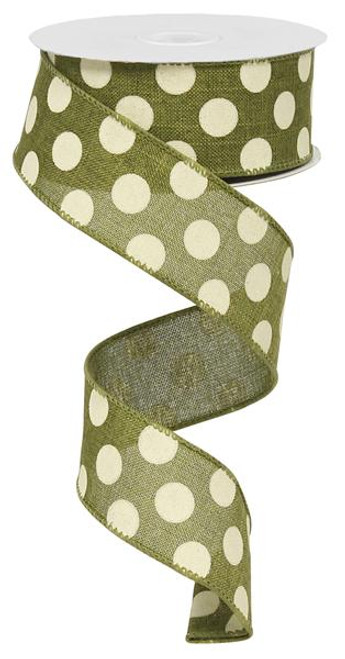 "Moss Green/Ivory Polka Dot Ribbon - 1.5"" x 10Yds"