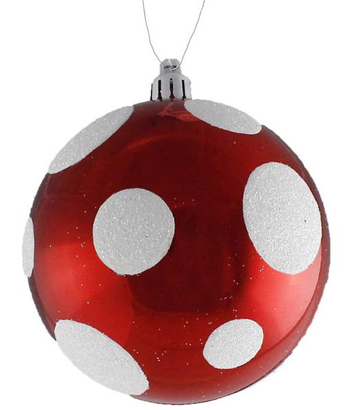 100mm Lg Dot Ball Ornament: Red/Wht