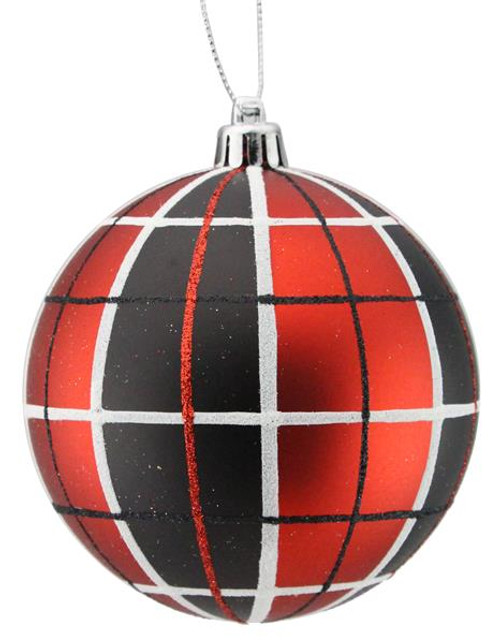 100mm Plaid Ball Ornament: Red/Black/Wht