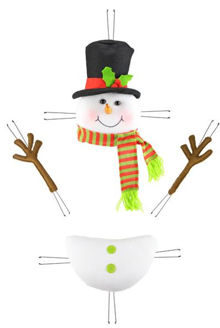 Plush Snowman Kit: Red/Lime Green