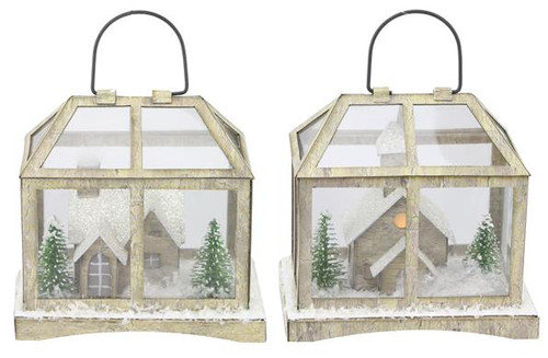 "4"" Light Up Paper Glass House Ornament"