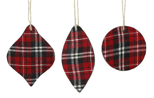 Plaid Fabric Ornaments, Set of 3