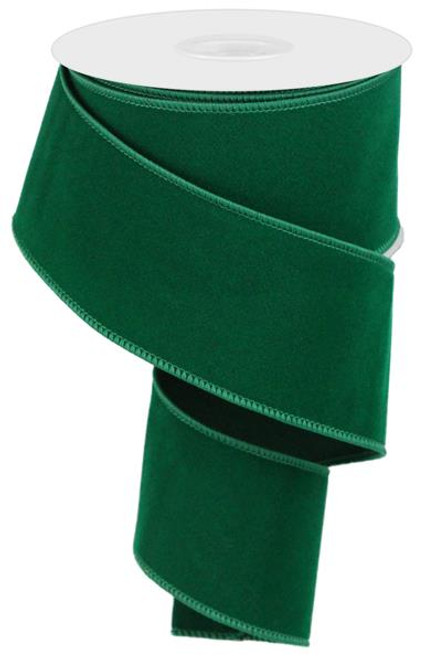 "2.5"" Indoor Velvet Ribbon: Emerald Green - 10yds"