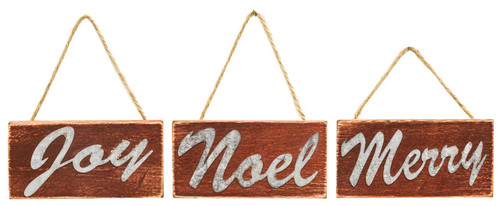 Small Rustic Wood Ornaments: Joy/Noel/Merry