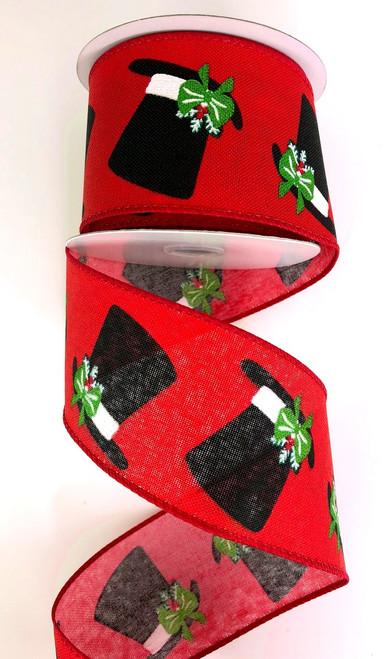 "2.5"" Top Hat Ribbon: Red/Black"