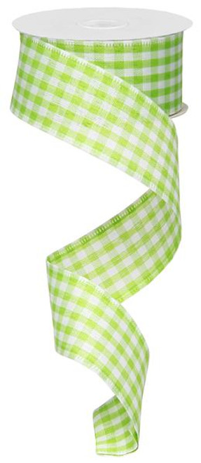 "1.5"" Gingham Ribbon: Green/White  - 10Yds"