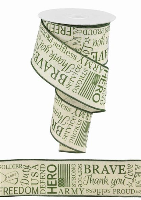 "2.5"" Linen Army Ribbon: Cream/Green - 10yds"