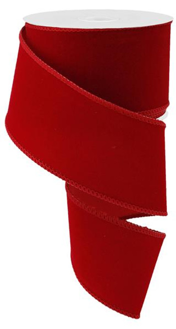 "2.5"" Outdoor Velvet Ribbon: Red - 10yds"