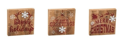 "6"" Rustic Wood Block Christmas Signs"