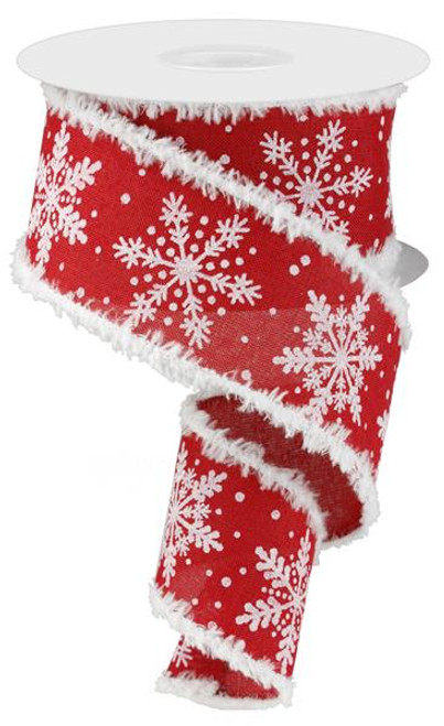 "2.5"" Glitter Snowflake/Snowdrift Ribbon: Red - 10 yards"