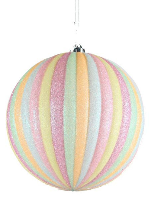 100mm Ball Ornament: Cotton Candy Vert Stripe