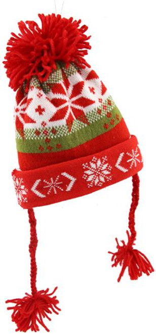 "7"" Knit Christmas Hat: Green/Red/Wht"