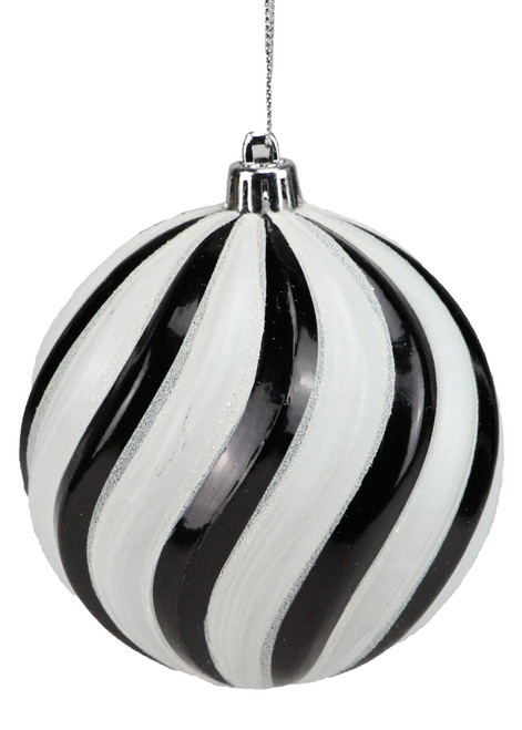 100mm Swirl Ball Ornament: Black/Wht