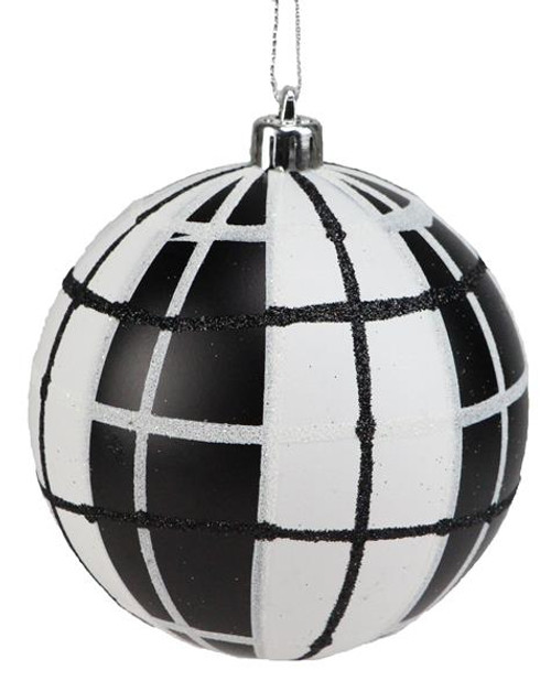 100mm Plaid Ball Ornament: Black/White
