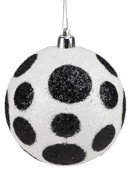 100mm Polka Dot Ball Ornament: White/Black