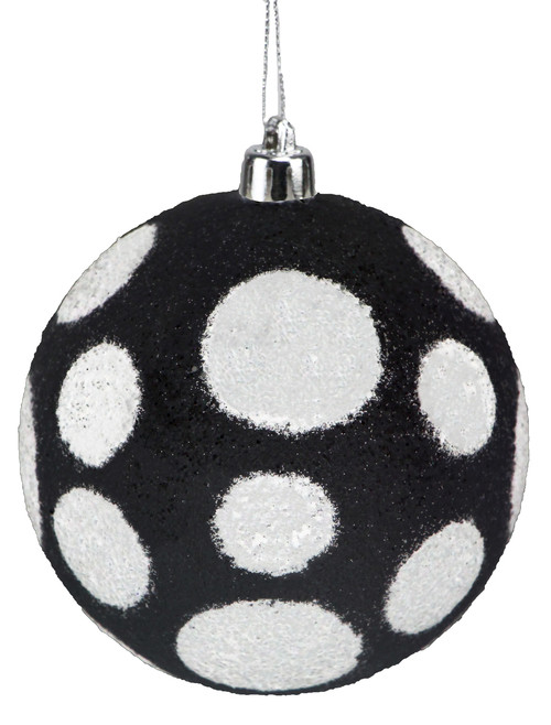 100mm Polka Dot Ball Ornament: Black/White