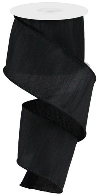 "2.5"" Faux Dupioni Ribbon: Black - 10 YD"