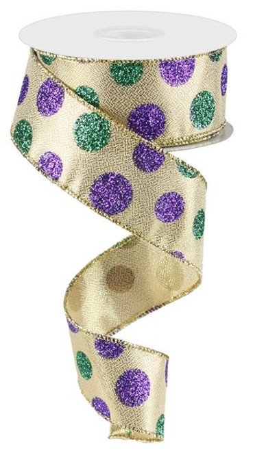 "1.5"" Mardi Gras Glitter Dot Ribbon - 10yds"