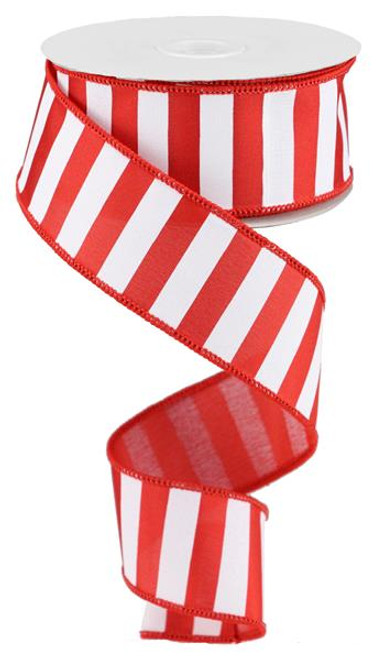 "1.5"" x 10yd Medium Horizontal Stripe Ribbon: Red/White"