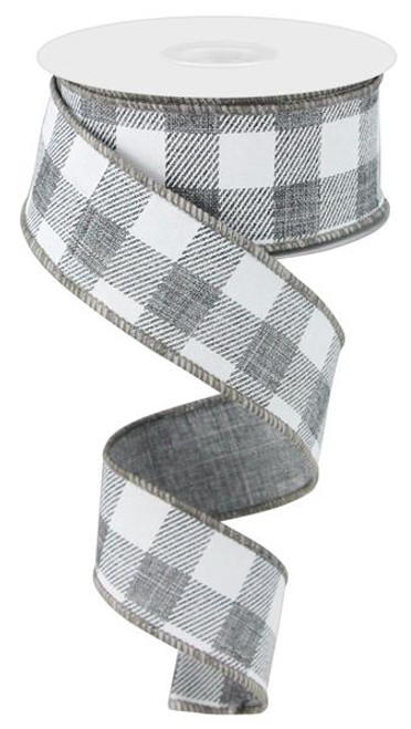 "1.5"" Plaid Check Ribbon: Grey/White - 10Yds"