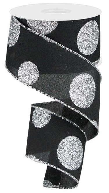 "2.5"" x 10yd Linen Giant Dot Ribbon: Black/Glitter Silver"