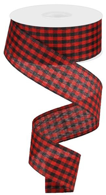 "Red/Black Gingham Check Ribbon - 1.5"" X 10Yds"