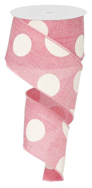 "2.5"" x 10yd Linen Giant Dot Ribbon: Pink/White"