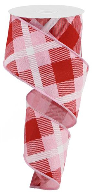 "2.5"" Diagonal Plaid Ribbon: Lt Pink/Red/White - 10yds"