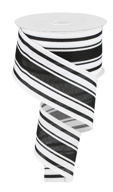 "2.5"" Farmhouse Stripe Ribbon: White/Black - 10yds"