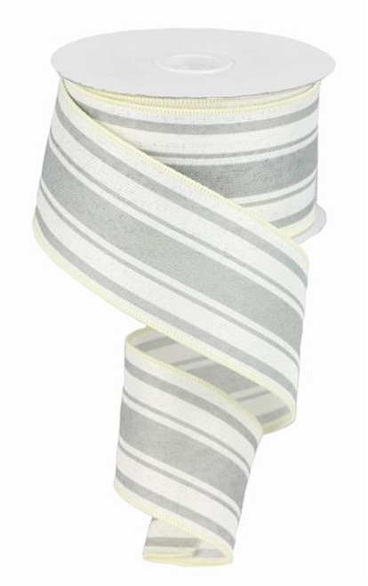"2.5"" Farmhouse Stripe Ribbon: Ivory/Cool Grey - 10yds"