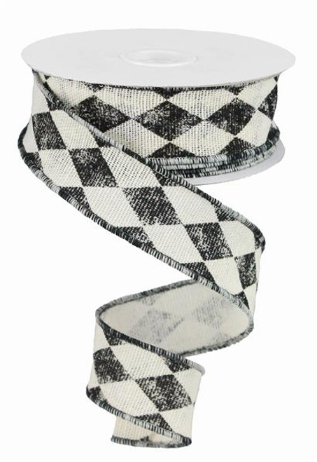 "1.5"" Vintage Harlequin Ribbon: Ivory/Black - 10Yds"