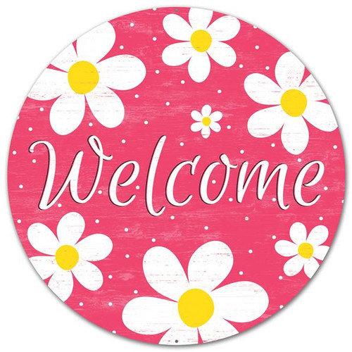 "12"" Metal Welcome Daisy Sign: Pink"