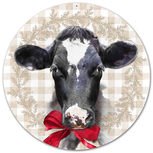 "12"" Metal Bessie the Cow w/ Bow Sign"