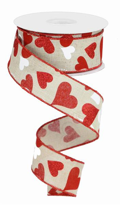 """1.5"""" Heart Ribbon: Lt Natural/Red/Wht - 10yds"""