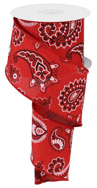 "Red Bandana Royal Burlap Ribbon - 2.5"" x 10Yd"