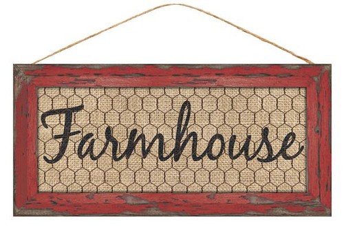 "12.5"" Farmhouse Chicken Wire Sign: Red"