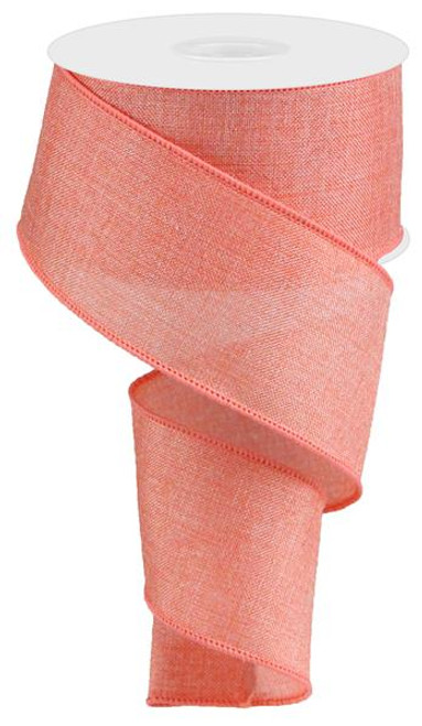 "Shiny Coral Royal Faux Burlap Ribbon - 2.5"" x 10Yd"