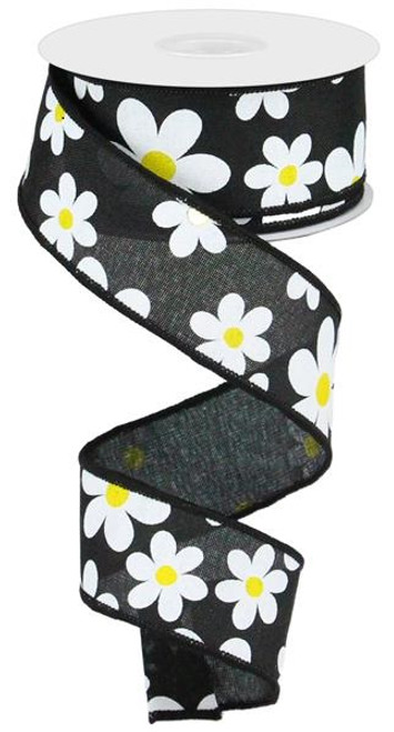 "1.5"" Daisy Print Ribbon: Black - 10Yds"