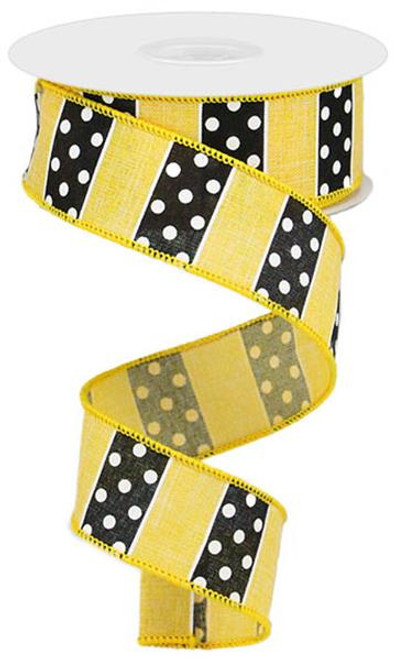 "1.5"" Polka Dot/Stripe Ribbon: Dark Yellow/Black (10yds)"