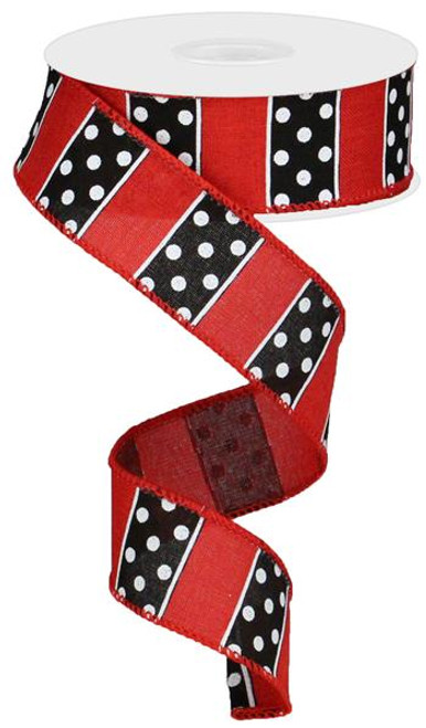 "1.5"" Polka Dot/Stripe Ribbon: Red/Black (10yds)"